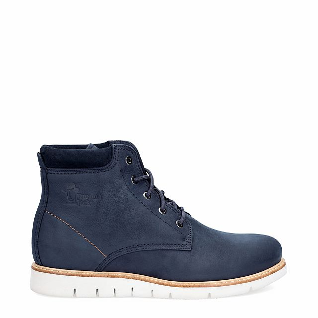 Navy leather boot with a leather lining