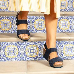 Navy leather sandals with a leather lining