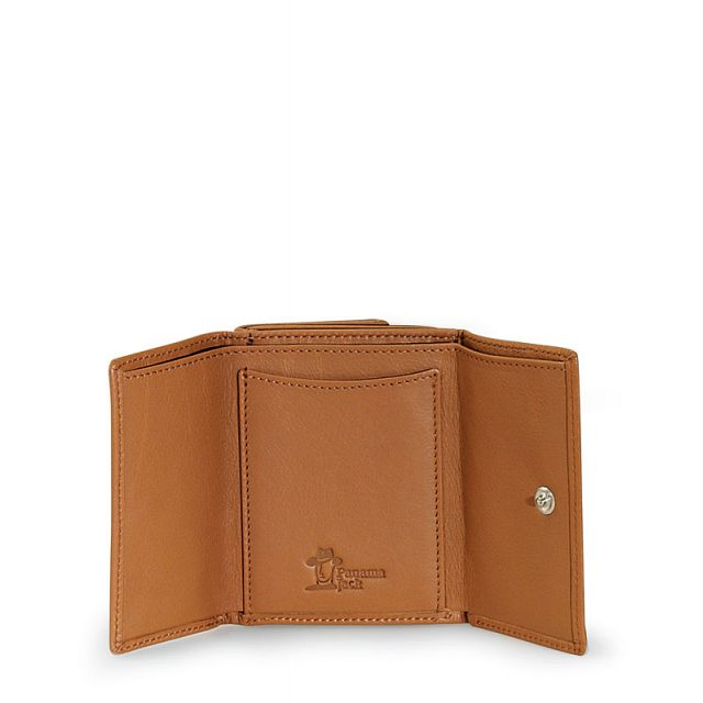 Mini leather wallet in camel