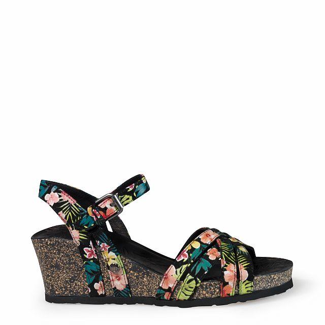 Sandalia de piel negro tropical