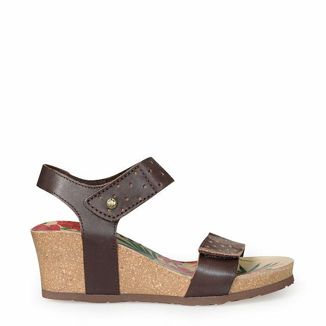 Sandalia de piel marron