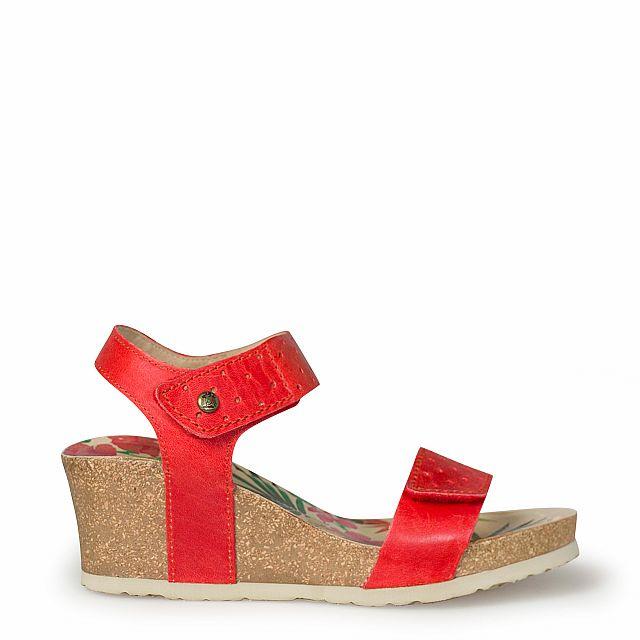 Sandalia de piel roja