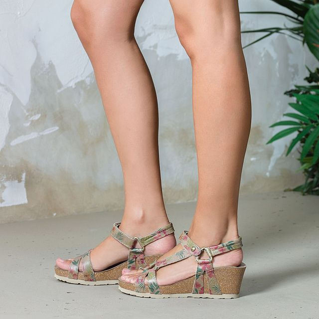Women's leather sandal in smoke colour with tropical print
